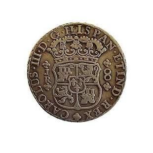Silver 8 reales. New world Spanish Empire in Peru.