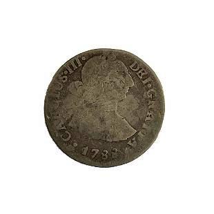 Spanish empire. Peru 1788 lJ. Silver 2 reales