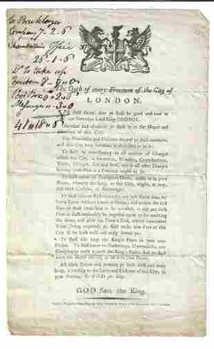1785 Oath of Every Freeman London Broadside
