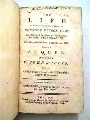 1744 The Life of Reynold Pecock