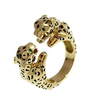 This iconic Cartier enamel double Panthere ring is a