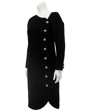 Yves Saint Laurent Black Velvet Cocktail Dress