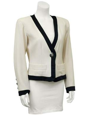 Yves Saint Laurent Cream Cropped Jacket with Black