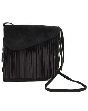 Yves Saint Laurent Black Suede Bag with Fringe