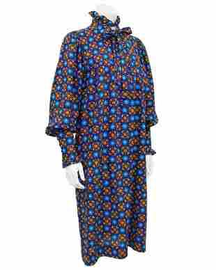 Yves Saint Laurent Blue Floral Cotton Dress