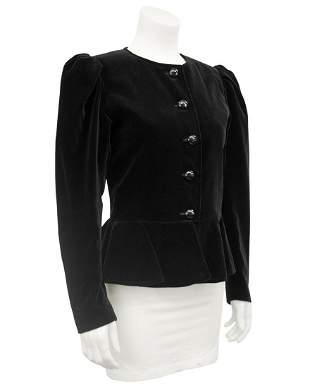 Yves Saint Laurent Black Velvet Peplum Jacket