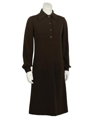 Yves Saint Laurent Brown Wool Day Dress