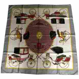 """1970s Hermes Silk Scarf """"Les Voitures a Transformation"""""""