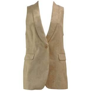 Superb Dries Van Noten Cream Jacquard Vest Size 40