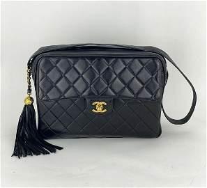 Chanel CC Tassel Camera Case Black Quilted Lambskin