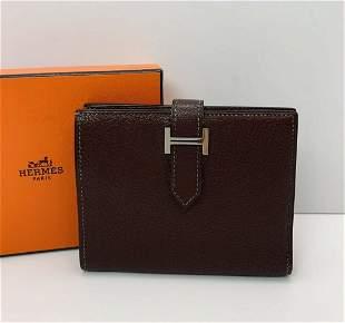 HERMES Chevre Mysore Bearn Compact Wallet Silver