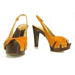 Sergio Rossi orange snakeskin wooden heel sandals w.