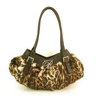 Blumarine Animal Print Lapin Fur Brown Leather Satchel