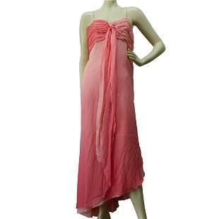 Auth Kathy Heyndels Degrade Pink Silk Asymetrical Hem