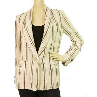 Maje Off White Ecru Striped single button Cotton Summer