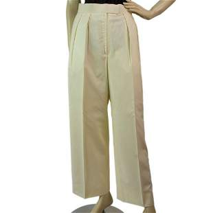 Tailor Made White Pleated Wide Leg Trousers Pants