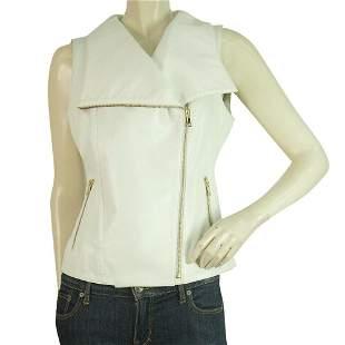 Jo Peters White Leather Side Gold tone Zipper Closure