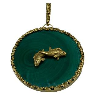 Vintage Yellow Gold and Malachite Astrological Sign