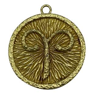 80's David Webb Yellow Gold Astrological Sign Aries