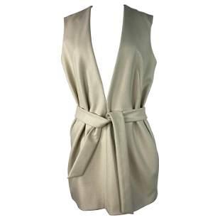 Dries Van Noten Cream Wool Vest with Belt, Size 38
