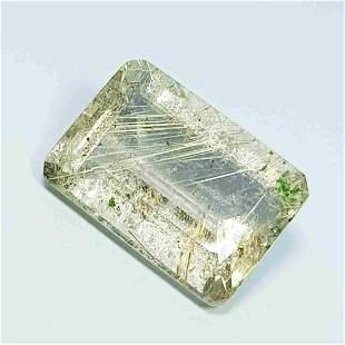 Natural Golden Rutile Quartz Emerald Cut 6.71 Ct