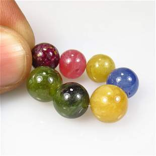 50.54 Ct Natural 7 Multicolor Sapphire Round Ball Beads