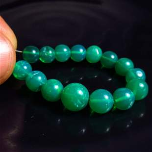 16.03 Ct Natural 15 Drilled Green Fire Opal Beads