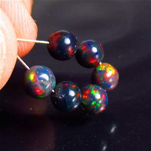 4.00 Ct Natural 6 Drilled Black Fire Opal Ball Beads