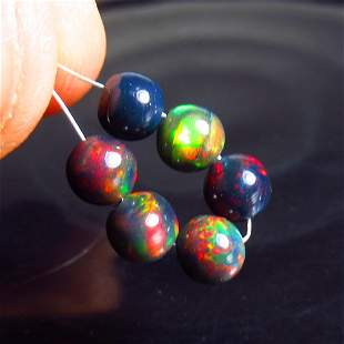 3.47 Ct Natural 6 Drilled Black Fire Opal Ball Beads