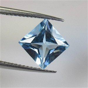 2.92 Ct Natural Blue Topaz Princess Cut