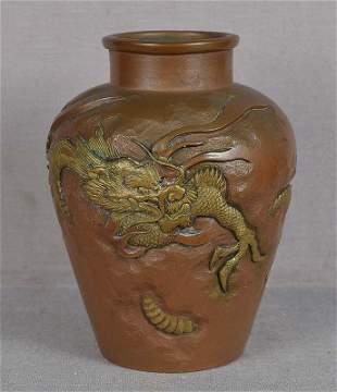 9c Japanese bronze vase DRAGON among clouds