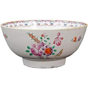 18th C Chinese Export Serving Bowl with Roses