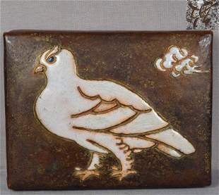 1910s ANDO Arts & Crafts Japanese copper box PIGEON by