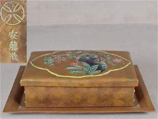 1910s ANDO Arts & Crafts Japanese copper box & tray