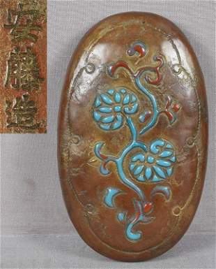 1910s ANDO Arts & Crafts Japanese copper box enameled