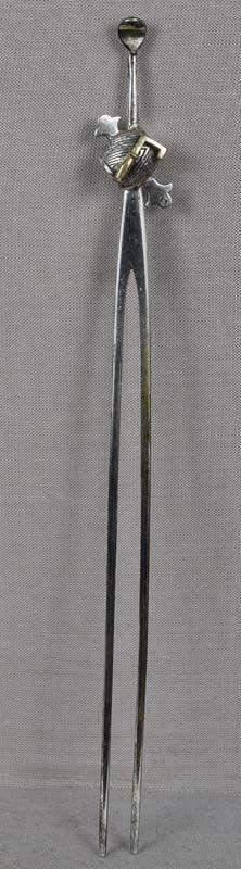 19c Japanese silver KANZASHI hair pin MALLET $ SACRED