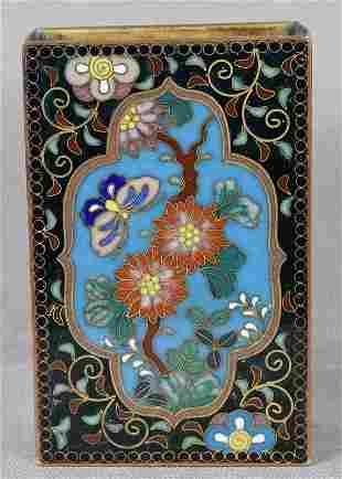 Meiji/Taisho Japanese cloisonne match box holder