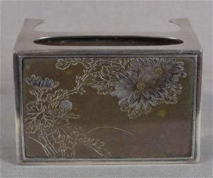 1910s Japanese silver & mixed metal MATCH BOX HOLDER