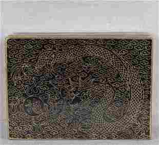 10s Japanese cloisonne POSTAL STAMP BOX dragon,