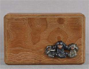 1910s Japanese keyaki wood box 3 WISE MONKEYS