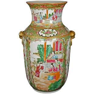 Chinese Rose Mandarin Palace Vase c 1840