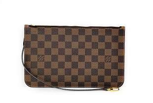 Louis Vuitton Neverfull Damier Ebene Wristlet Clutch