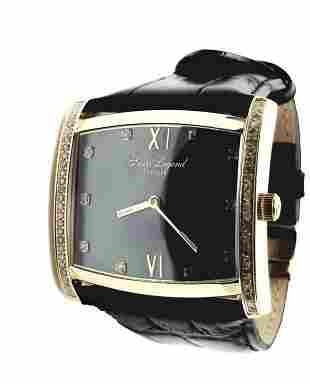 Swiss Legend Diamond Unisex Black Leather Watch Men