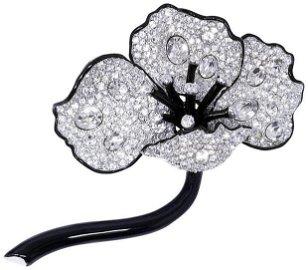 Kenneth Jay Lane Crystal Clear Long Stem Poppy Flower