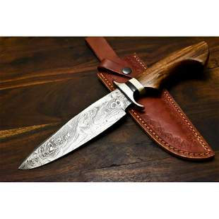 Hunting camping exclusive pattern damascus steel knife