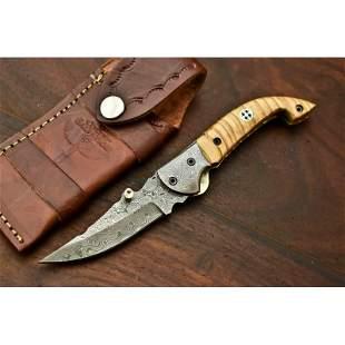 Folding pocket everyday carry damascus steel knife