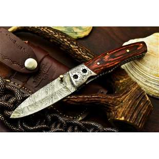 Everyday carry pocket folding damascus steel knife