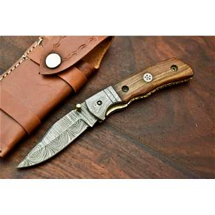 Exclusive pattern damascus steel knife pocket folding