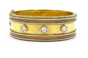 Victorian 14 Karat Yellow Gold Diamond Bangle Bracelet