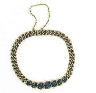 ANTIQUE 56 RUSSIAN Rose Gold Sapphire Bracelet Braided